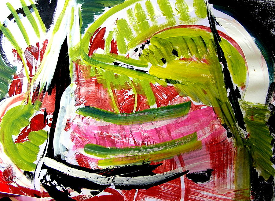 Abstract Watermelon Painting - watermelon by Carol Skinner