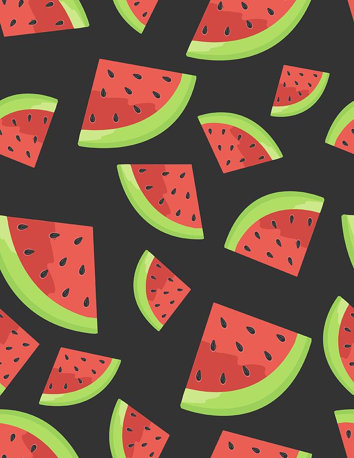 Watermelon Seamless Background Pattern Digital Art by Bloodlinewolf