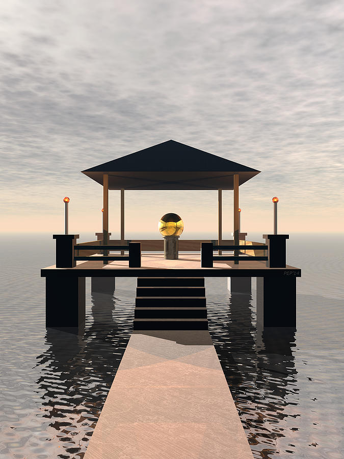 Structure Digital Art - Waterside Gazebo by Phil Perkins