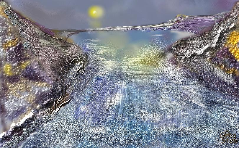 Rocks Digital Art - Waterway Rush by Gregory Steward
