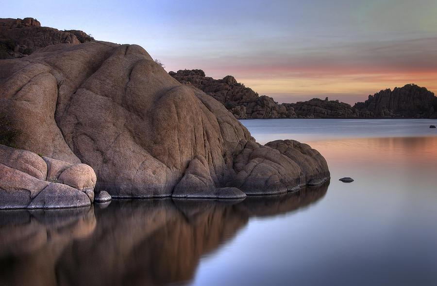 Sunrise Photograph - Watson Lake Arizona Colors by Dave Dilli