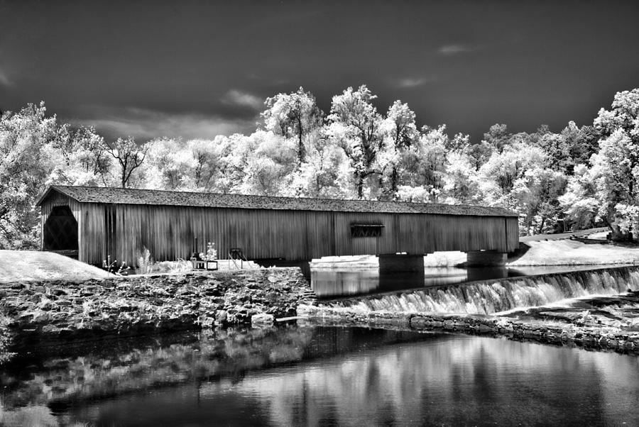Covered Bridge Photograph - Watson Mill Covered Bridge In Infrared by Linda Mcfarland