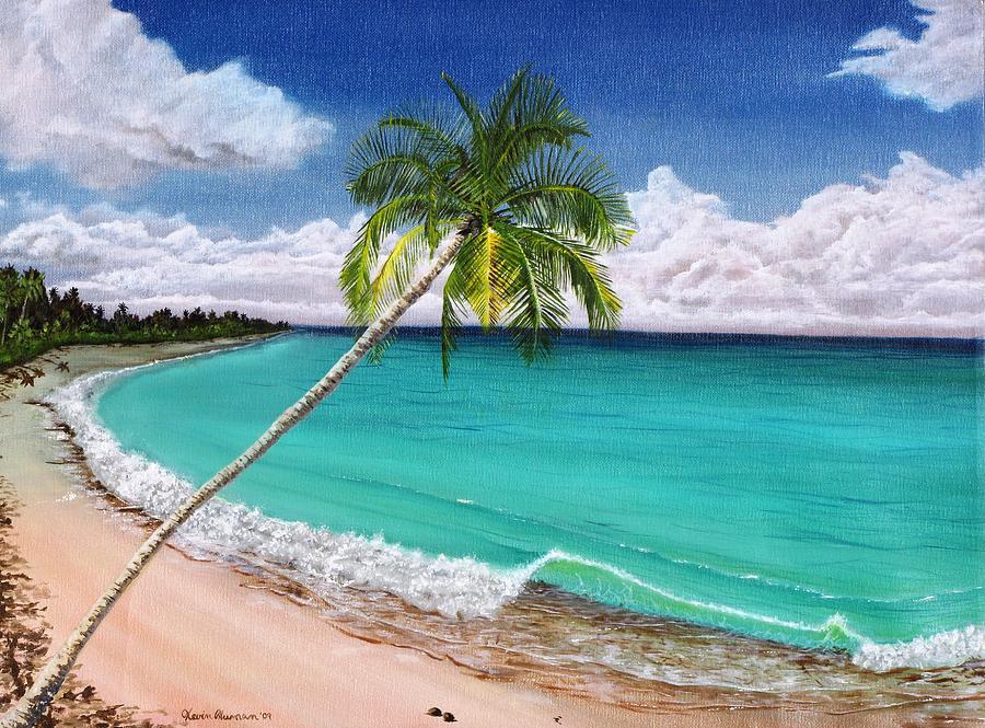 Palm Tree Painting - Wave Break Beach by Kevin F Heuman