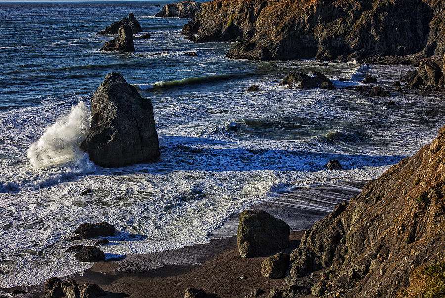Beautiful California Photograph - Wave Breaking On Rock by Garry Gay