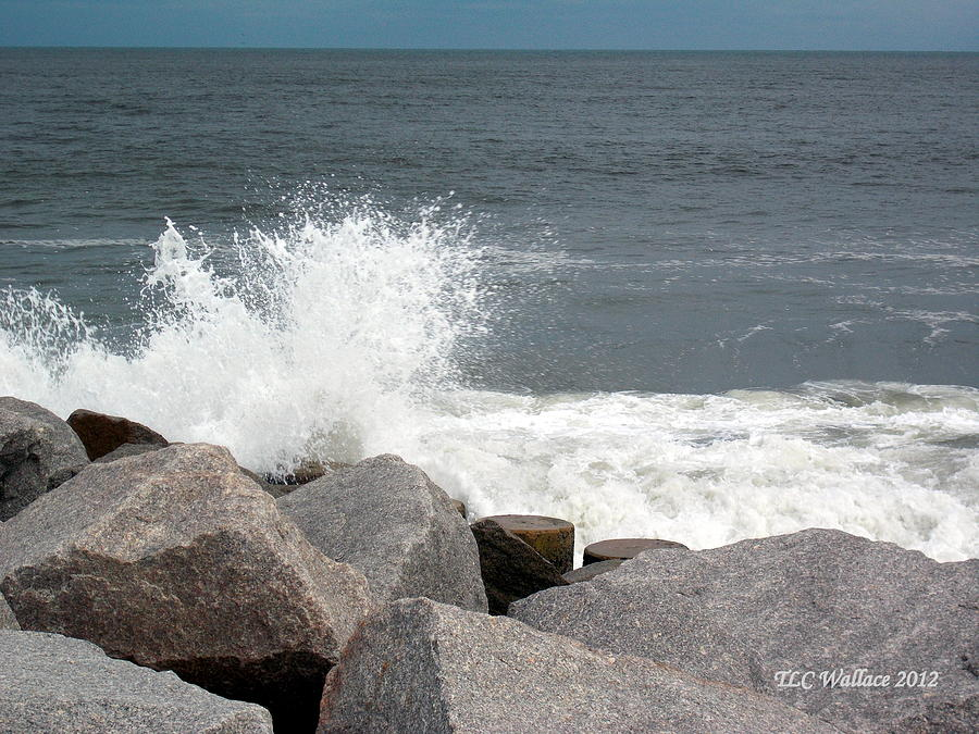 Landscape Photograph - Wave Breaks On Rocks by Tammy Wallace