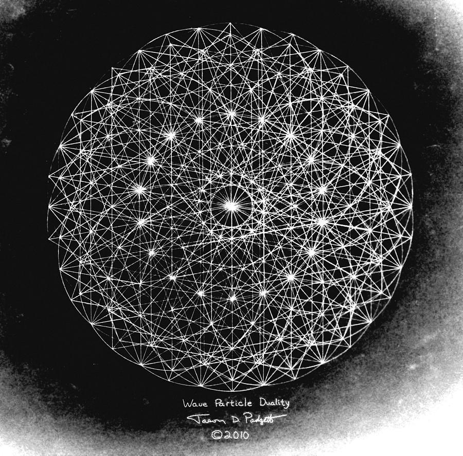 Jason Drawing - Wave Particle Duality Black White by Jason Padgett