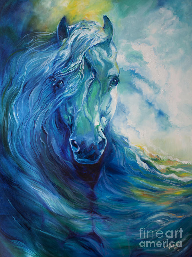Horse Painting - Wave Runner Blue Ghost Equine by Marcia Baldwin