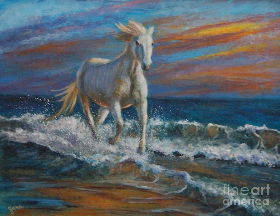 White Horse Painting - Wave Runner by Jana Baker