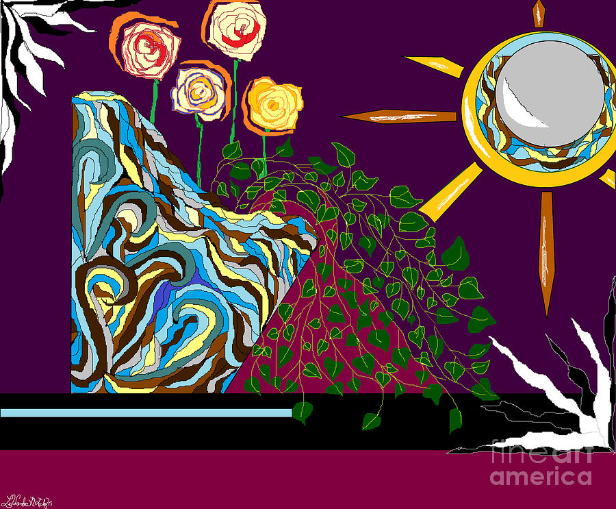 Sun Mirror Digital Art - Wave Vase And Roses by Lewanda Laboy