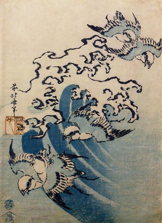 Waves And Birds Painting By Katsushika Hokusai
