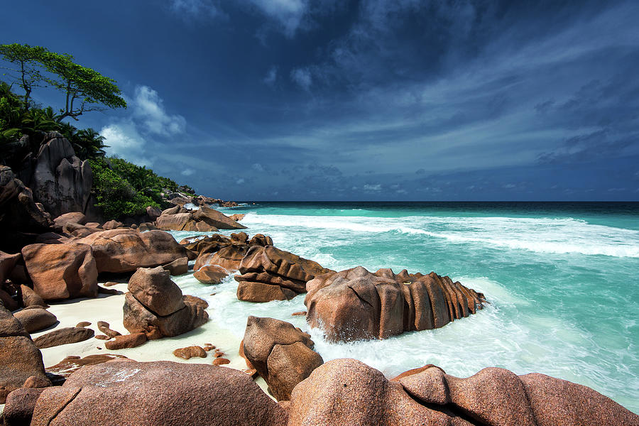 Waves And Granite Rocks On A Paradise Photograph by Pitgreenwood