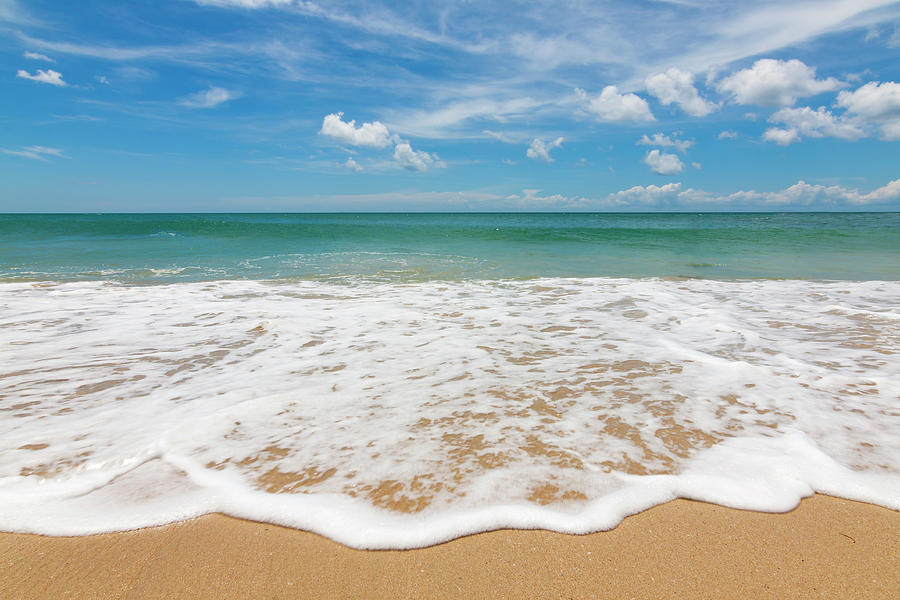 Waves At A Beach With Blue Sky Photograph by Macbrian Mun
