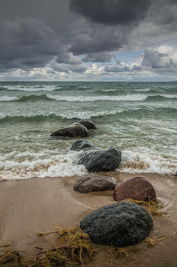 Sturgeon Bay Photograph - Waves Coming In by Randall Nyhof