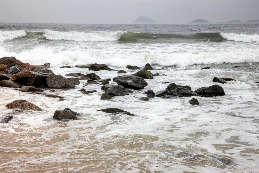 Waves Crashing On Copacabana Beach In Photograph by Tirc83