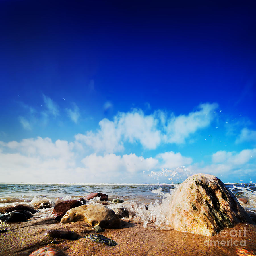 Wave Photograph - Waves Hiting Rocks On The Sunny Beach by Michal Bednarek
