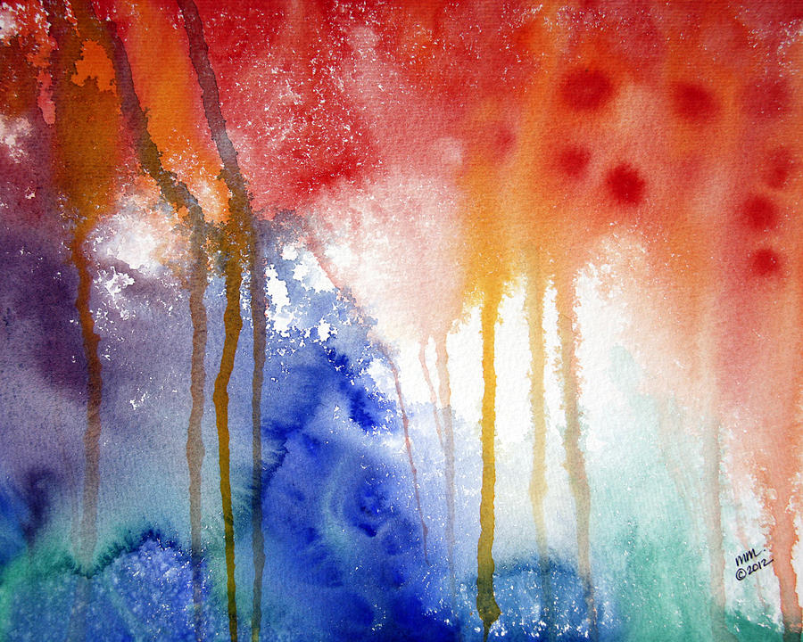 Rainbow Colors Painting - Waves Of Emotion by Michal Madison
