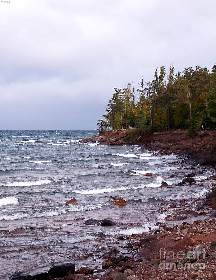 Nature Photograph - Waves Of Lake Superior by Phil Perkins