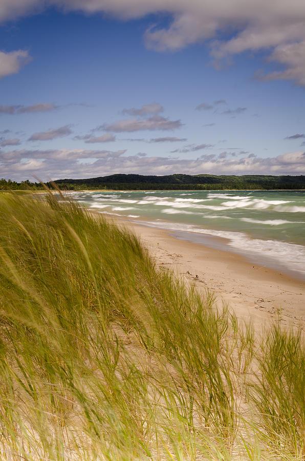 Lake Michigan Photograph - Waves Of Water And Grass by Thomas Pettengill