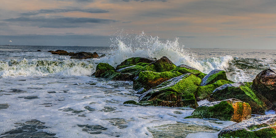 Atlantic Ocean Photograph - Waves On The Jetty by David Hahn