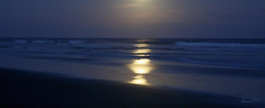 Sea Photograph - Waves Reflecting Moon by Amanda Holmes Tzafrir