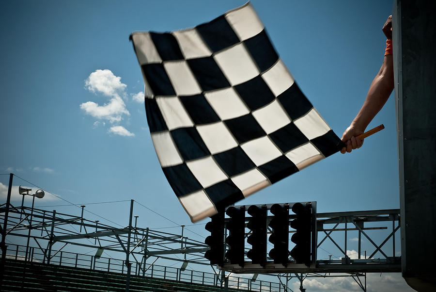 Waving Checkered Flag Photograph by Stevedangers