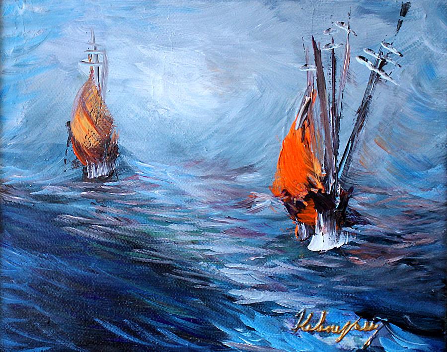 Wavy Painting - Wavy Sea by Helene Khoury Nassif