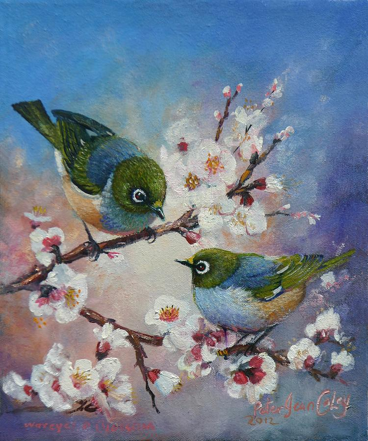 Birds Painting - Wax Eyes On Blossom by Peter Jean Caley