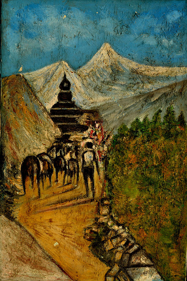 Oil Paintings Painting - Way To God At Himalayas by Anand Swaroop Manchiraju