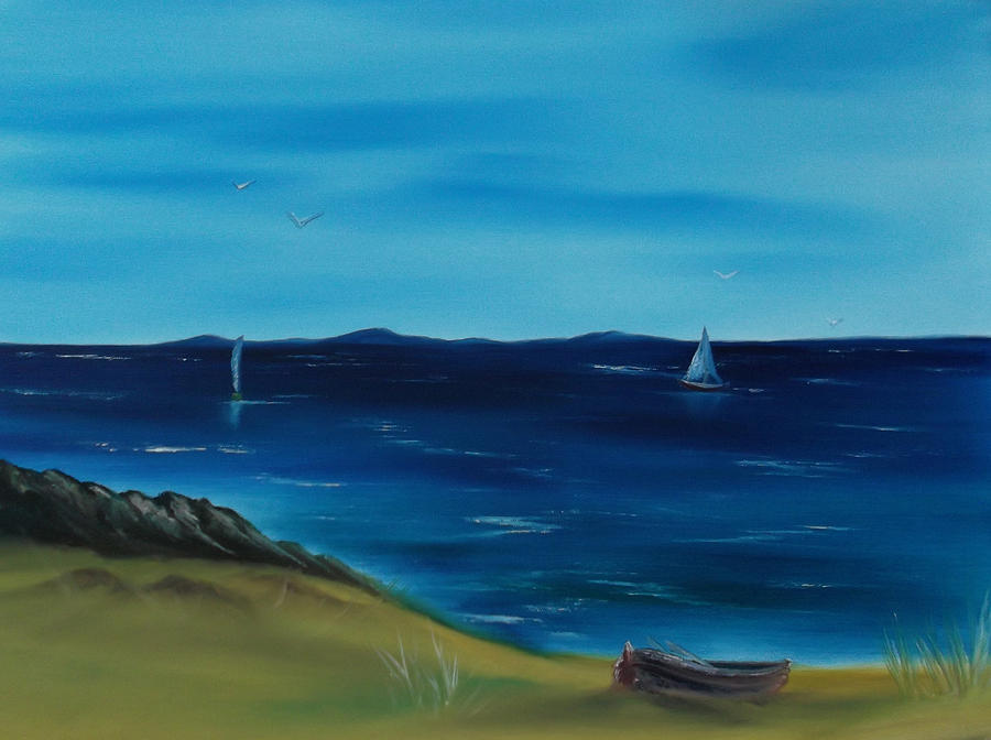 Seascape Painting - We Are Sailing.. by Cynthia Adams