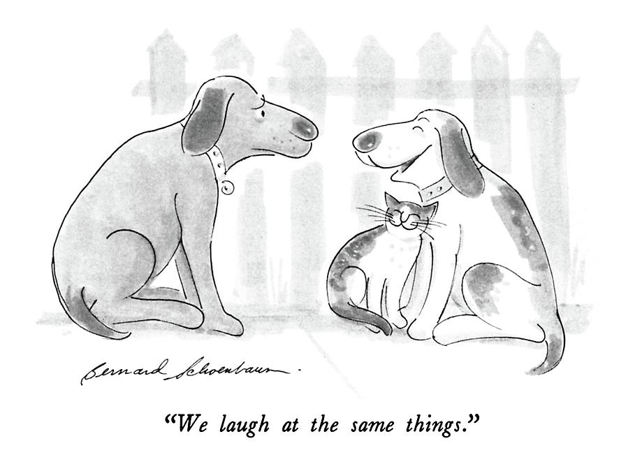 We Laugh At The Same Things Drawing by Bernard Schoenbaum