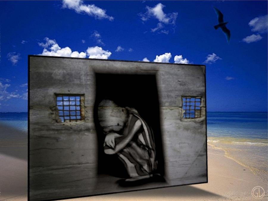 Seascape. Prison Digital Art - We Prisoners by Gun Legler