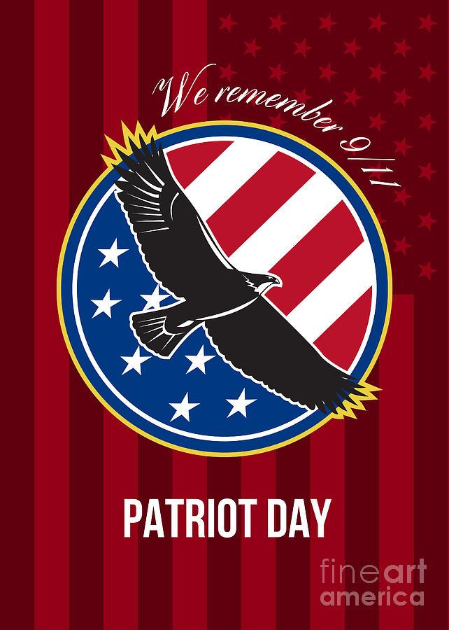 Remember Digital Art - We Remember 911 Patriot Day Retro Poster by Aloysius Patrimonio