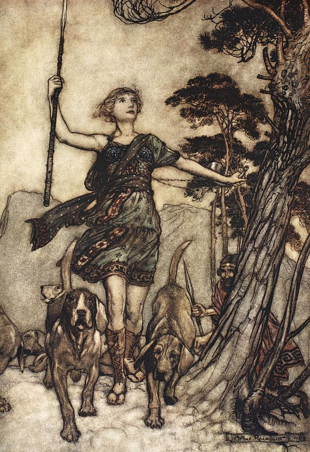 Shakespearean Drawing - We Will, Fair Queen by Arthur Rackham