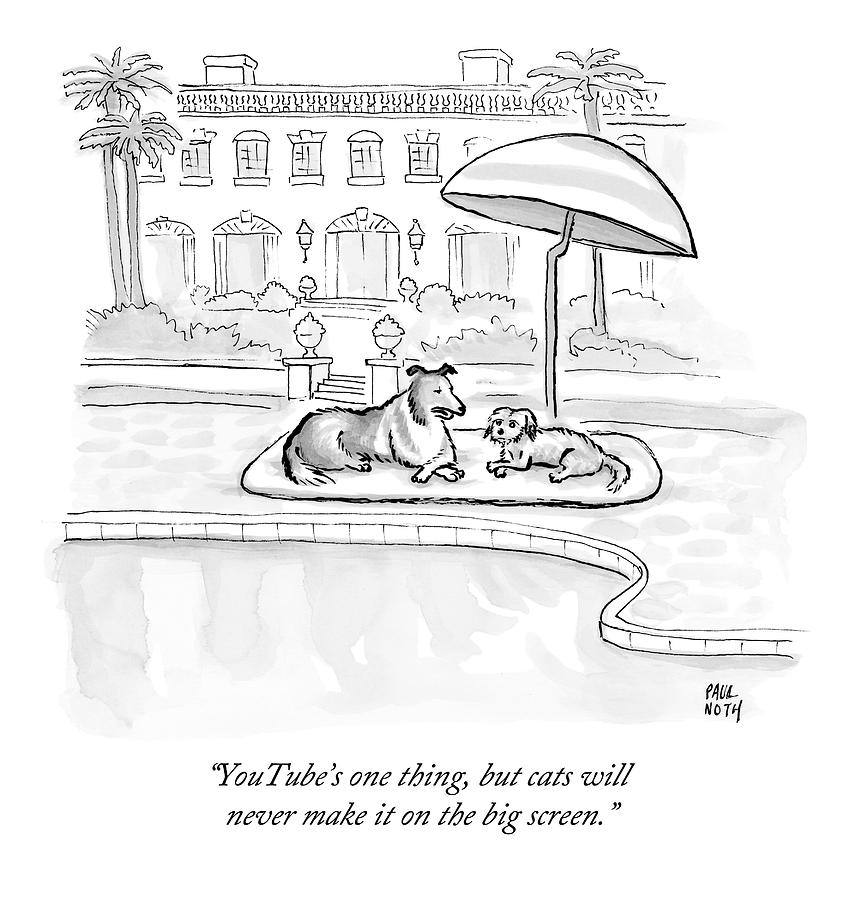 Dogs Drawing - Wealthy Dogs Discuss Cats In Hollywood by Paul Noth