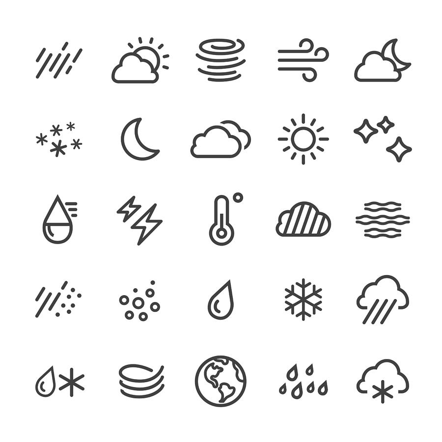 Weather Icons - Smart Line Series Drawing by -victor-