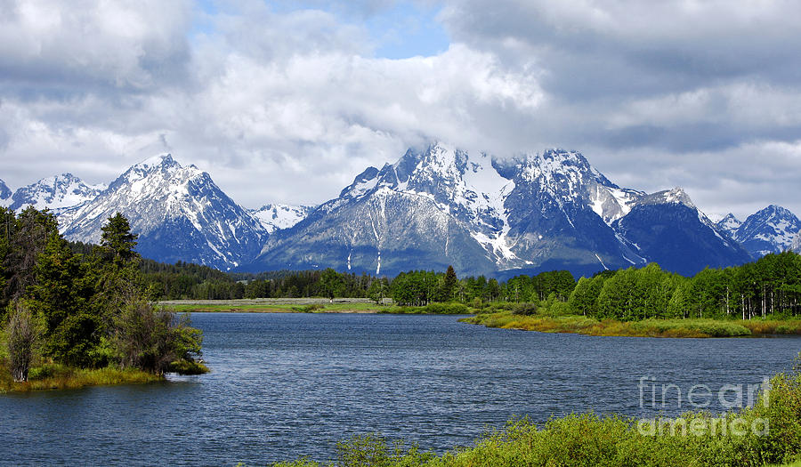 Beauty Photograph - Weather on the Teton Mountain Range at Oxbow Bend by Lincoln Rogers