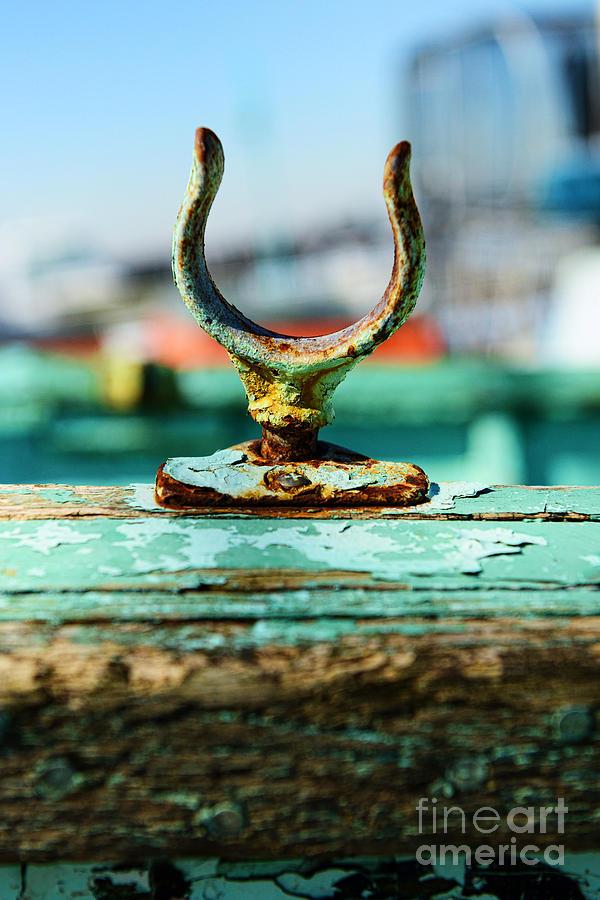 Paul Ward Photograph - Weathered Boat Oar Lock by Paul Ward