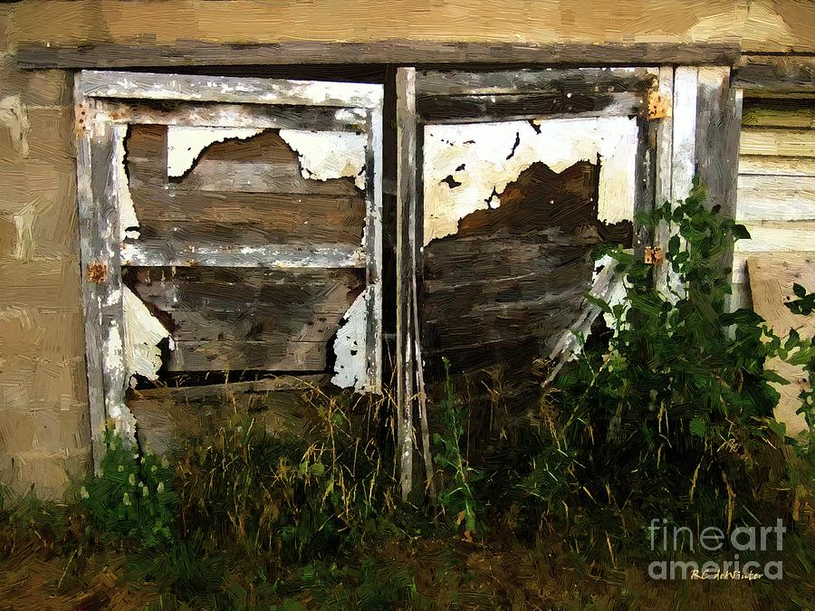 Shed Painting - Weathered In Weeds by RC DeWinter