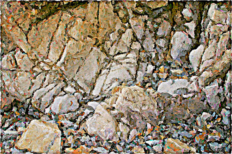 Abstract Painting - Weathered Rock Face Owlshead by Peter J Sucy