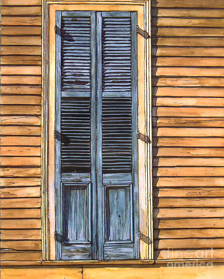French Quarter Painting - Weathered Shutters by John Boles