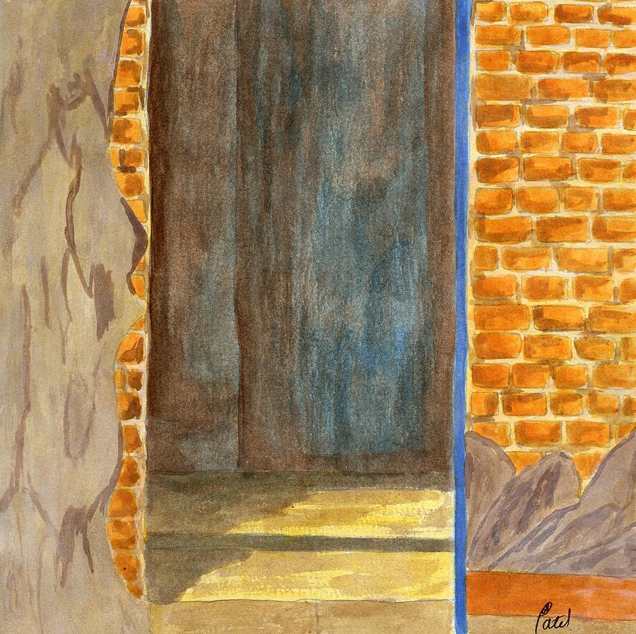 Acrylic Paint Painting - Weathered Wall With Doorway by Bav Patel