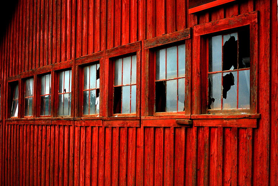 Red Photograph - Weathered Windows by Mamie Gunning