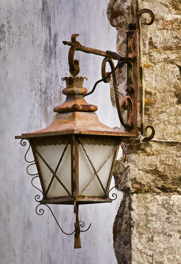 Lovely Aged Photograph   Weathered Wrought Iron Street Lamp Of Medieval Europe By  David Letts