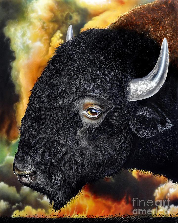 Bison Painting - Weathering Storm by Jurek Zamoyski