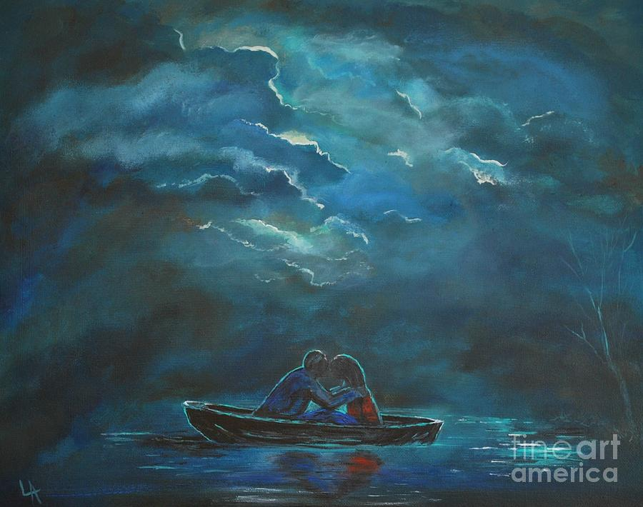 Couple In Love Painting - Weathering The Storm by Leslie Allen