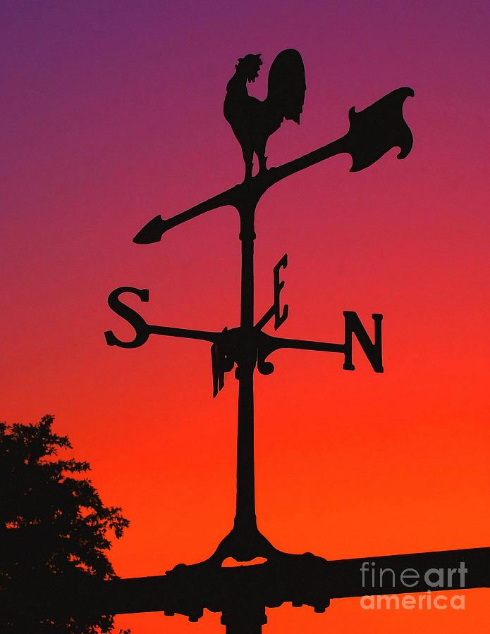 Compass Photograph - Weathervane At Sunset by Nick Zelinsky