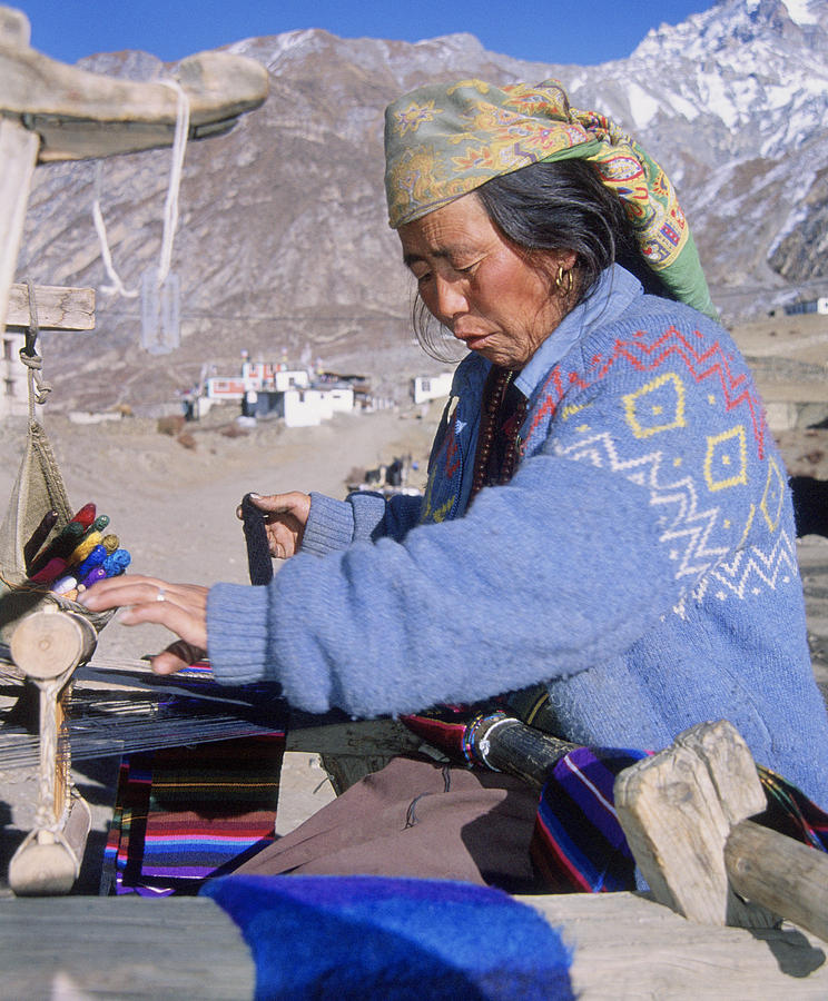 Weaving Photograph - Weaving scarves in Muktinath by Richard Berry