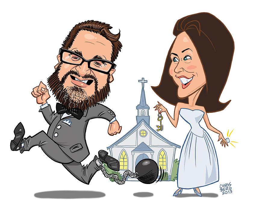 Caricature Digital Art - Wedding Beer Label by Chris Berg