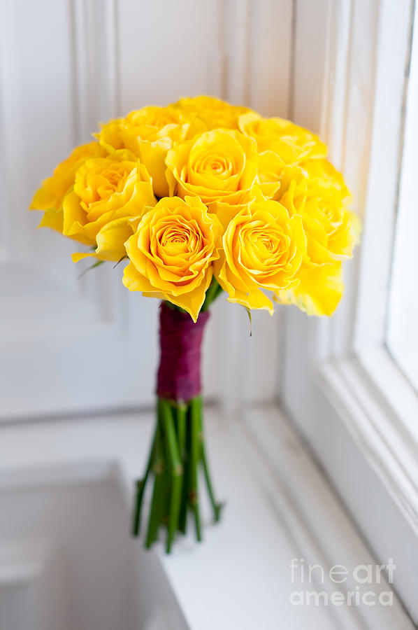 Wedding Bouquet Of Yellow Roses Photograph By Lee Avison