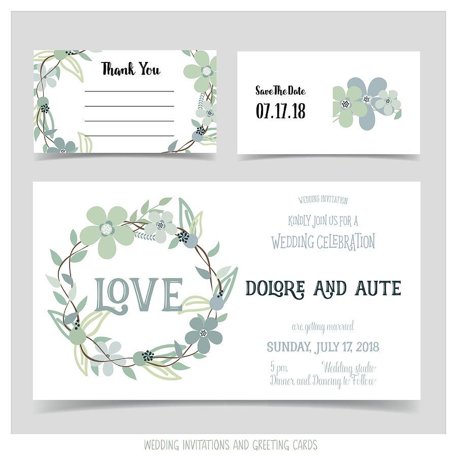Wedding Invitation Card With Romantic Flower Templates